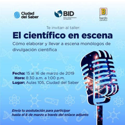 taller ciencia en escena panamá 2019 flyer